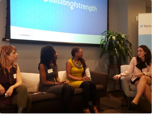 left to right: Nancy Schwartzman, Jamia Wilson (Women Action and Media), Patrica Cartes (Twitter) are among the fabulous collaborators of Twitter's #positionofstrength